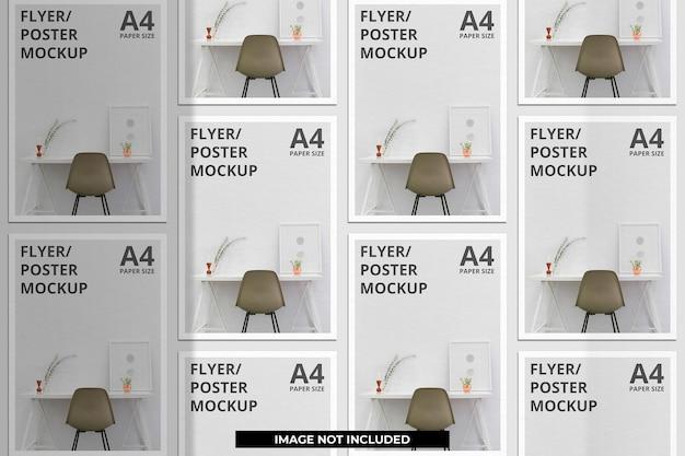 Realistyczny projekt makiety broszury papierowej lub ulotki z nakładką cienia