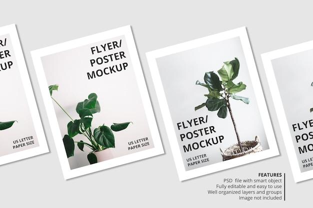 Realistyczny projekt makiety broszury papierowej lub ulotki