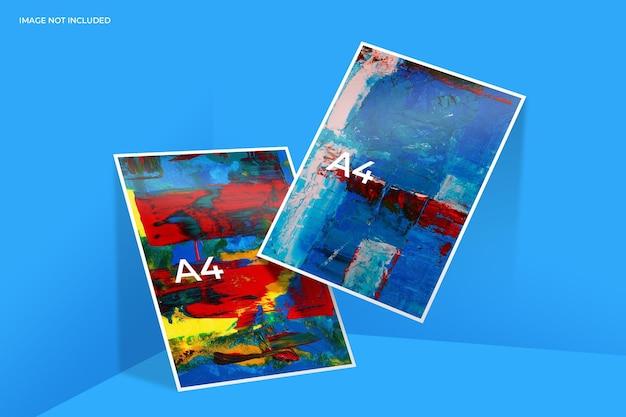 Realistyczny projekt makiety ulotki papierowej w renderowaniu 3d
