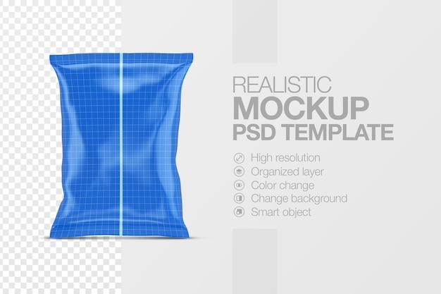 Realistyczny szablon makiety błyszczącej torby na przekąski