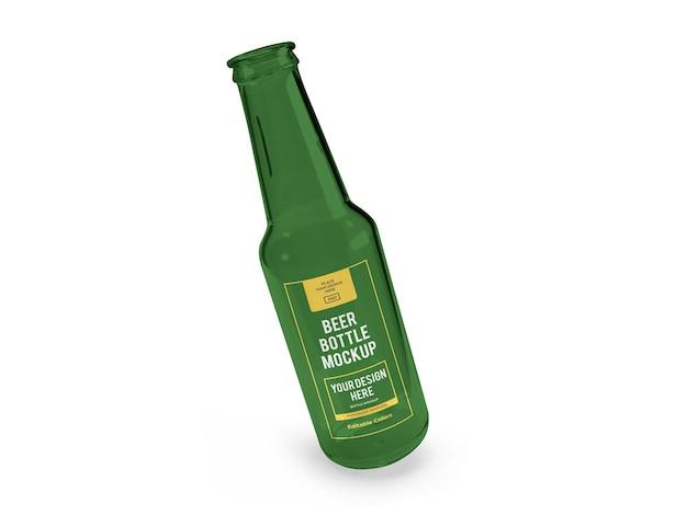 Realistyczny szablon makiety butelki piwa na białym tle