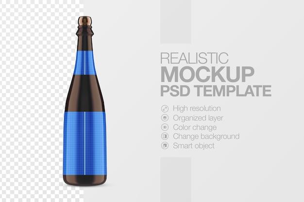 Realistyczny szablon makiety butelki piwa