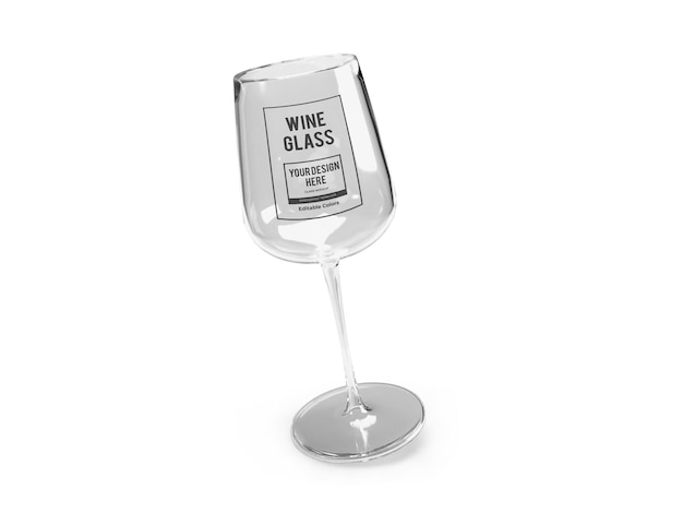 Realistyczny szablon makiety kieliszek do wina na białym tle