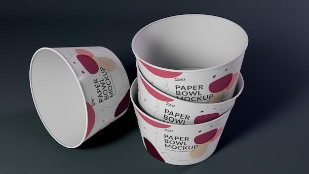 Realistyczny szablon projektu makiety papierowej miski