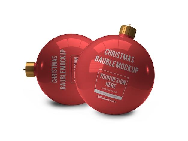 Realistyczny szablon świąteczne bombki makieta na białym tle