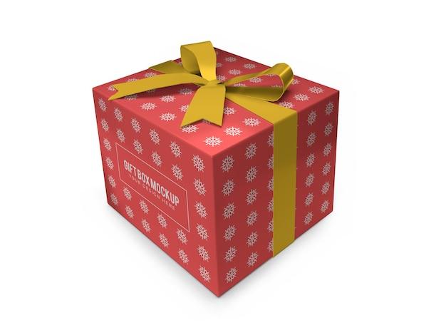 Realistyczny szablon świąteczne pudełko na prezent na białym tle