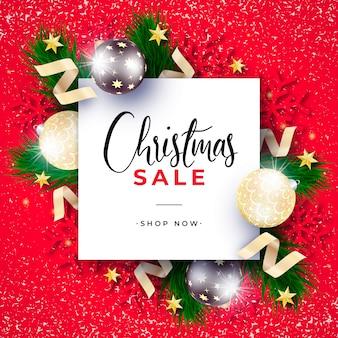 Realistyczny transparent sprzedaż świąteczna z czerwonym tłem