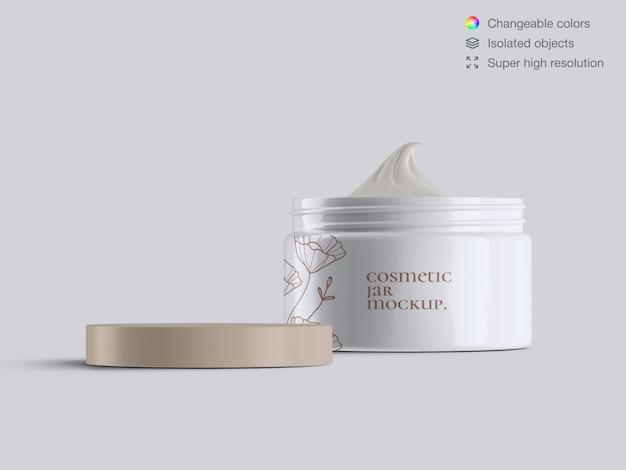 Realistyczny widok z przodu otwarty szablon makieta plastikowy kosmetyczny krem do twarzy