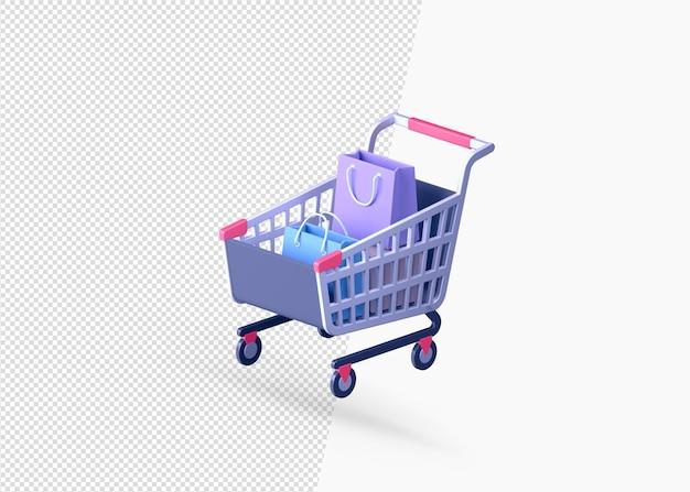Realistyczny wózek na zakupy z torbą na zakupy na białym tle koncepcja 3d