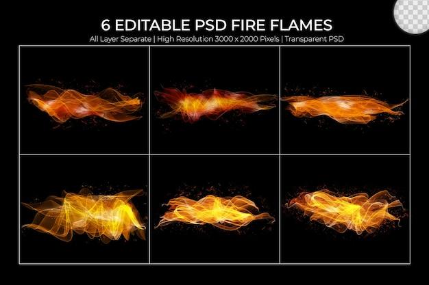 Realistyczny zestaw przezroczystych płomieni ognia