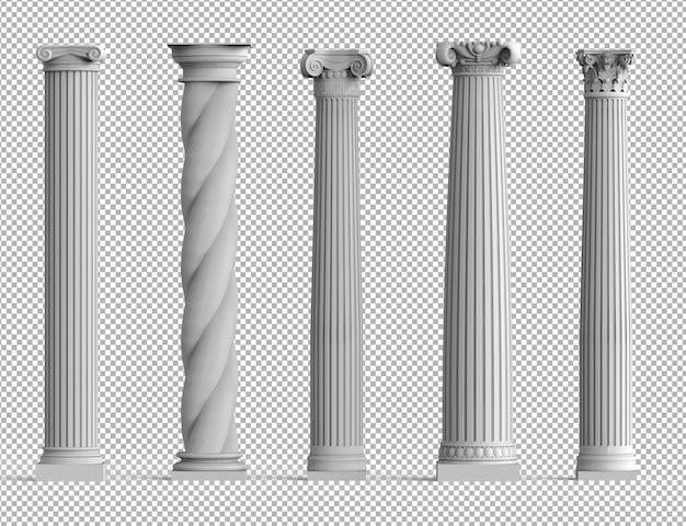 Realistyczny zestaw starożytnych izolowanych kolumn 3d z różnymi stylami greckiej architektury.
