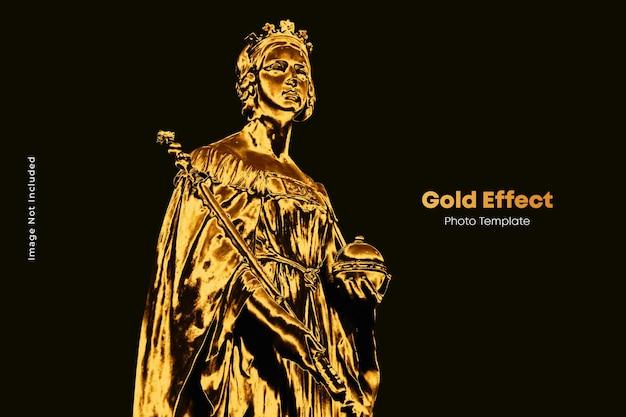 Realistyczny złoty szablon efektu fotograficznego