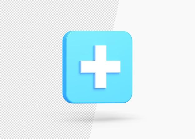 Realistyczny znak plus na białym tle 3d ikona