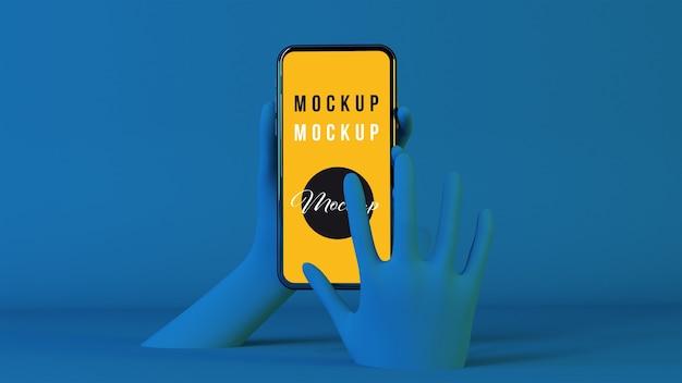 Ręce 3d za pomocą makiety smartfona