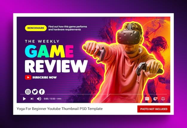 Recenzja gry wideo miniatura kanału youtube i baner internetowy