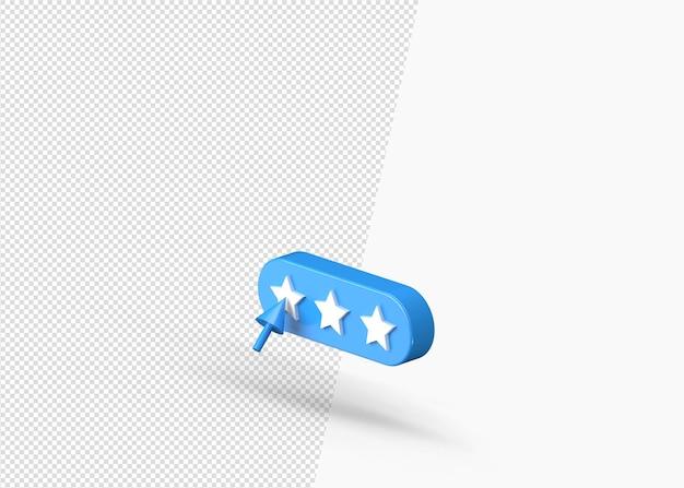 Recenzja produktu lub ocena 5 gwiazdek na białym tle ikona 3d
