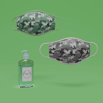 Ręcznie robione maseczki i dezynfekcja rąk z makietą