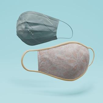 Ręcznie robione maski na twarz z koncepcją makiety