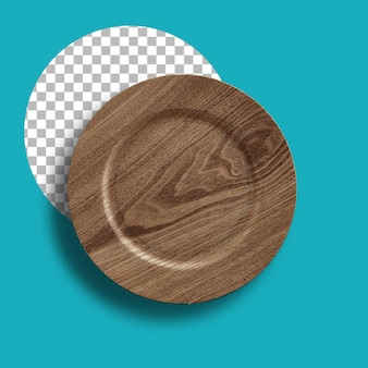 Ręcznie robiony drewniany talerz na białym tle