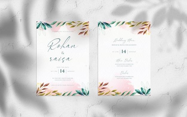 Ręcznie rysowane akwarela kwiatowy ślub z makieta karty zaproszenia