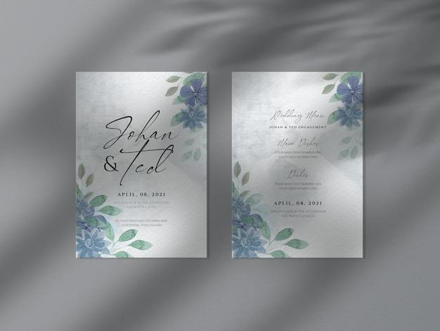 Ręcznie Rysowane Akwarela Kwiatowy ślub Z Makieta Karty Zaproszenia Premium Psd