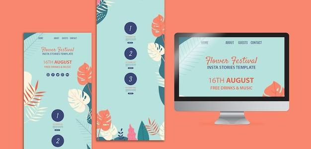 Ręcznie rysowane kwiat festiwal instagram storiestemplate