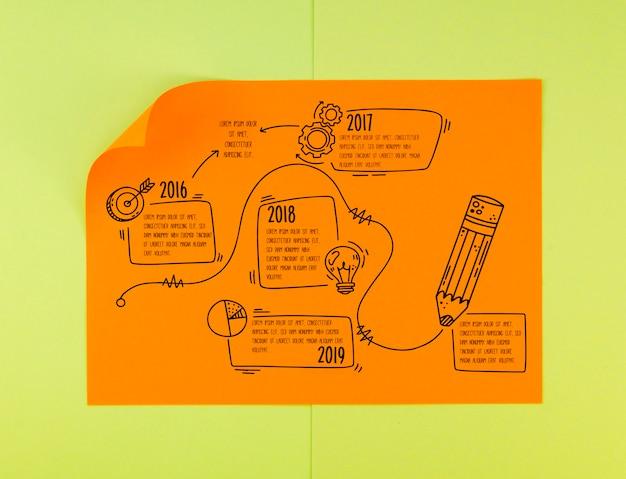 Ręcznie rysowane papier geometrii osi czasu