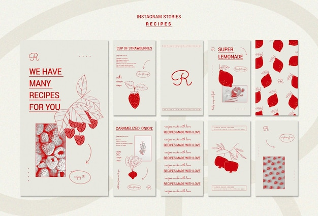Ręcznie rysowane przepisy kulinarne szablon historie na instagramie