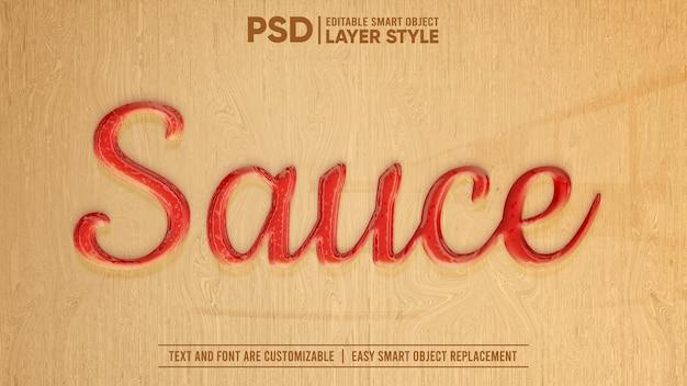 Red tomato hot chili sauce ketchup edytowalny styl warstwy efekt tekstowy obiektu inteligentnego