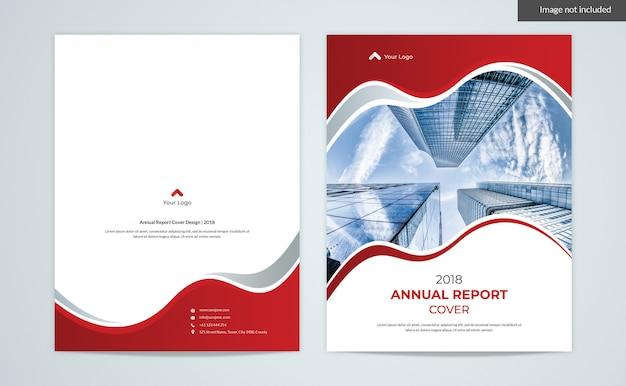 Red Waves Cover Design - Raport Roczny 2 Okładki Stron Premium Psd
