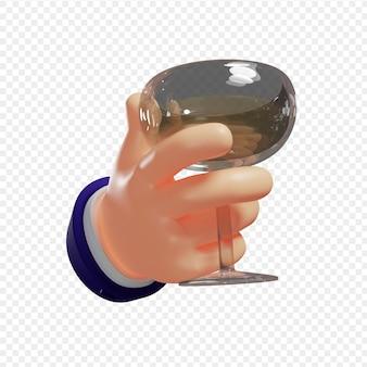 Ręka 3d trzyma kieliszek margarity z koncepcją wakacji z szampanem na białym tle 3d illustratio