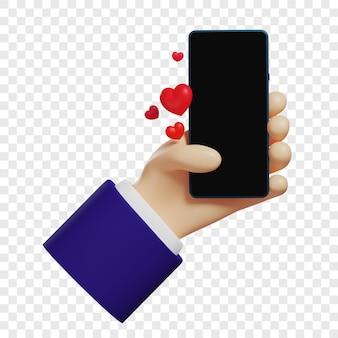Ręka 3d trzyma telefon i wysyła emotikony serca w wiadomościach ikony serca na białym tle