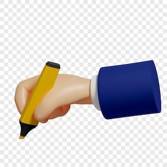 Ręka 3d trzyma żółty znacznik aby podkreślić najważniejszą rzecz do robienia notatek izolowana ilustracja