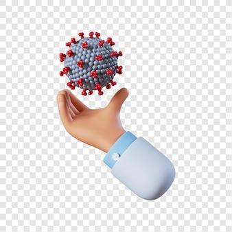 Ręka lekarza trzymającego koronawirusa