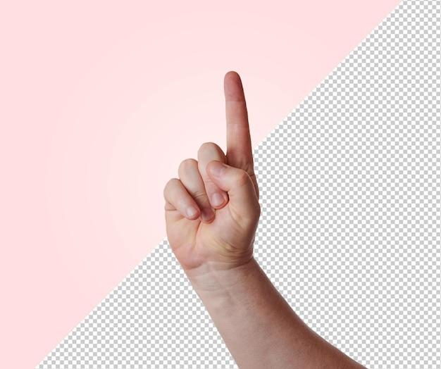 Ręka mężczyzny z podniesionym palcem wskazującym, makieta