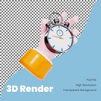 Ręka renderowania 3d z ilustracją ikony stopera