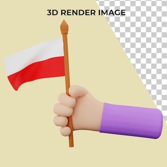 Ręka renderowania 3d z koncepcją święta narodowego w polsce