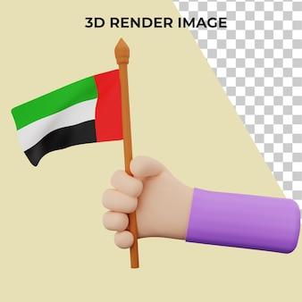 Ręka renderowania 3d z koncepcją święta narodowego zjednoczonych emiratów arabskich