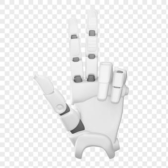 Ręka robota 3d pokazuje na białym tle ilustrację 3d numer trzy