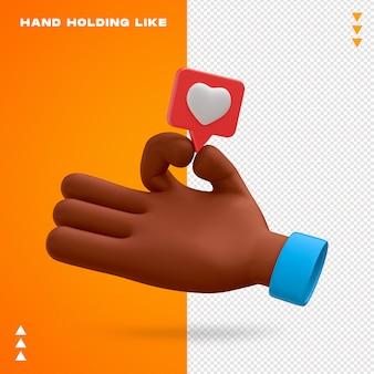 Ręka trzyma jak projekt 3d emoji