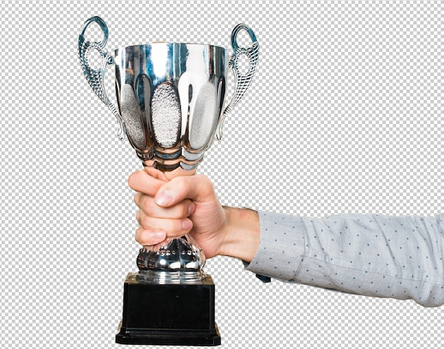 Ręka trzyma mienie trofeum mężczyzna mienie