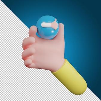 Ręka trzyma symbol emocji. jak ikona, ikona mediów społecznościowych, ilustracja 3d