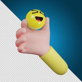 Ręka trzyma symbol ikonę emocji. ikona śmiechu, ikona mediów społecznościowych, ilustracja 3d