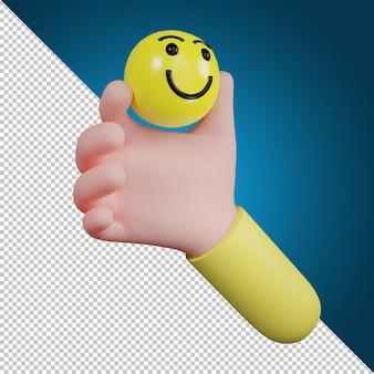Ręka trzyma symbol ikonę emocji. ikona uśmiechu, ikona mediów społecznościowych, ilustracja 3d