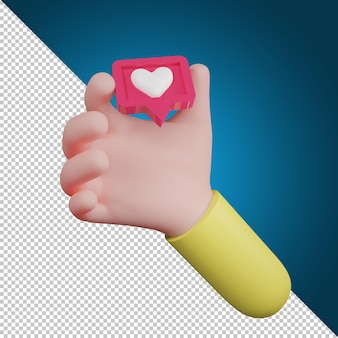 Ręka trzyma symbol ikonę miłości emocji. ikony serca, ikona mediów społecznościowych, ilustracja 3d