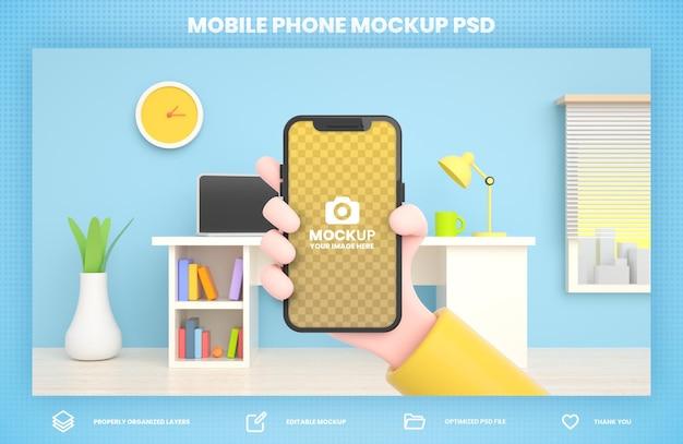 Ręka trzyma telefon makieta renderowania 3d dla szablonu postu w mediach społecznościowych