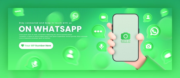Ręka trzymająca ikony whatsapp telefonu wokół makiety renderowania 3d dla szablonu okładki na facebooku promocyjnym
