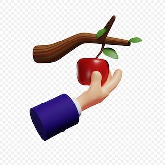Ręka zbiera dojrzałe jabłko z koncepcji biznesowej oddziału, masz czas na zerwanie jabłka, zanim spadnie