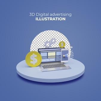 Reklama cyfrowa koncepcja renderowania 3d online zarabianie ilustracji laptopa promocji mediów