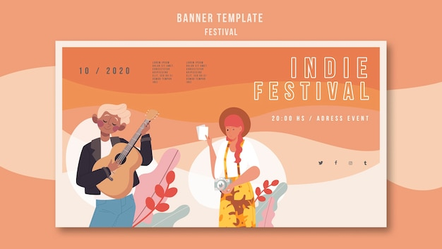 Reklama festiwalu szablonu banera